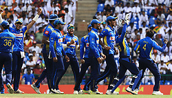 October 20, 2018 - Kandy, Sri Lanka - Sri Lankan cricketers celebrate during the 4th One Day International cricket match between Sri Lanka and England at the Pallekele International Cricket Stadium  Sri Lanka. Saturday 20 October 2018  (Credit Image: © Tharaka Basnayaka/NurPhoto via ZUMA Press)
