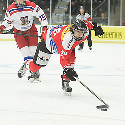COBOURG, - Dec 18, 2015 -  WJAC Game 11- Team Czech Republic vs Team Switzerland at the 2015 World Junior A Challenge at the Cobourg Community Centre, ON. Andr&Egrave; Heim #26 of Team Switzerland skates with the puck during the first period.<br /> (Photo: Andy Corneau / OJHL Images)