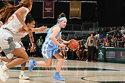 January 20, 2019: Leah Church #20 of North Carolina in action during the NCAA basketball game between the Miami Hurricanes and the North Carolina Tar Heels in Coral Gables, Florida. The 'Canes defeated the Tar Heels 76-68.