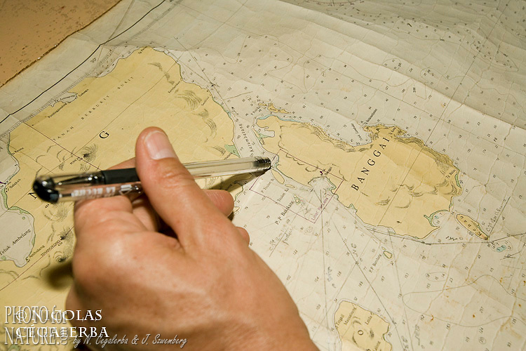 Carte marine de l'ile Banggai en Indonésie