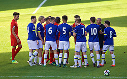 BIRKENHEAD, ENGLAND - Sunday, October 23, 2016: Liverpool and Everton players clash during the Mini-Derby FA Premier League 2 Under-23 match at Prenton Park. (Pic by David Rawcliffe/Propaganda)