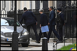 April 17, 2018 - London, London, United Kingdom - Theresa May Leaves Downing Street. The British Prime Minister Theresa May leaving No10 Downing Street with her Jamaican counterpart Andrew Holness. (Credit Image: © Andrew Parsons/i-Images via ZUMA Press)