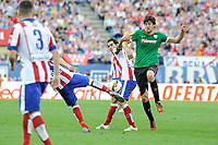Atletico de Madrid´s Gabi and Tiago Cardoso and Athletic Club´s Mikel San Jose during 2014-15 La Liga match between Atletico de Madrid and Athletic Club at Vicente Calderon stadium in Madrid, Spain. May 02, 2015. (ALTERPHOTOS/Luis Fernandez)
