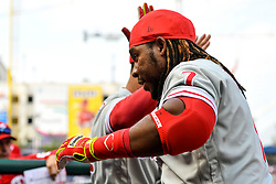 May 6, 2018 - Washington, DC, U.S. - WASHINGTON, DC - MAY 06:  Philadelphia Phillies third baseman Maikel Franco (7) is congratulated after his solo home run in the eighth inning during the game between the Philadelphia Phillies  and the Washington Nationals on May 6, 2018, at Nationals Park, in Washington D.C.  The Washington Nationals defeated the Philadelphia Phillies, 5-4.  (Photo by Mark Goldman/Icon Sportswire) (Credit Image: © Mark Goldman/Icon SMI via ZUMA Press)