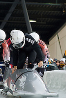 The Mens' four-person bobsleigh World Cup competition held at the Whistler Sliding Centre on Feb 7, 2009