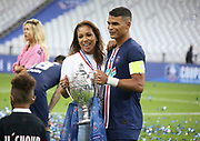 Thiago Silva of PSG and his wife Isabele da Silva celebrate the victory following the French Cup final football match between Paris Saint-Germain (PSG) and Saint-Etienne (ASSE) on Friday 24, 2020 at the Stade de France in Saint-Denis, near Paris, France - Photo Juan Soliz / ProSportsImages / DPPI