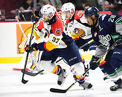 Warren Foegele of the Erie Otters in Game 2 of the 2017 MasterCard Memorial Cup against the Seattle Thunderbirds on Saturday May 20, 2017 at the WFCU Centre in Windsor, ON. Photo by Aaron Bell/CHL Images
