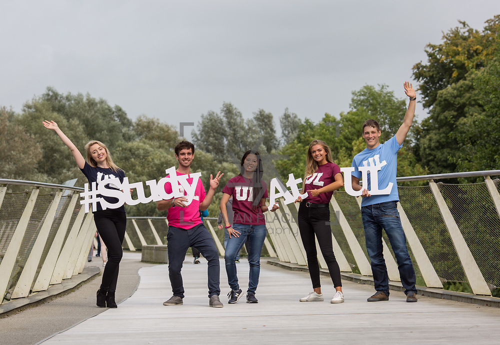 06.09. 2017.                             <br /> #Study at UL<br /> Students promoting The University of Limericks #Study at UL campaign. <br /> Pictured are, Ellen Brasseur, Food Science and Health, Shane O'Hara, Technology Management, Emma Louraine Folers, European Studies, Laura Cotter, English and New Media and Yuri Kanash, Aeronautical Engineering. Picture: Alan Place