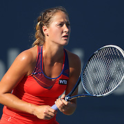 Bojana Jovanovski, Serbia, in action against Eugenie Bouchard, Canada, during the first round of the Connecticut Open at the Connecticut Tennis Center at Yale, New Haven, Connecticut, USA. 18th August 2014. Photo Tim Clayton