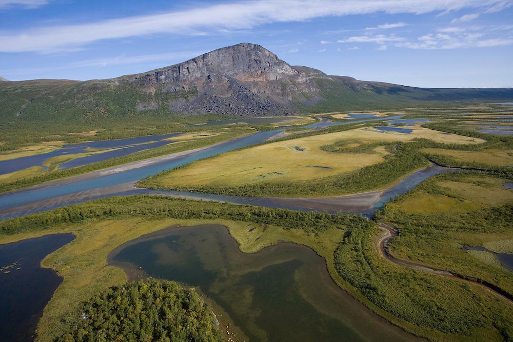 Aerial view over Laitaure delta, Sarek National Park, Laponia World Heritage Site, Sweden