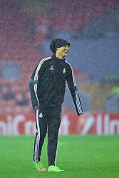21.10.2014, Anfild, Liverpool, ESP, UEFA CL, FC Liverpool vs Real Madrid, Gruppe B, Training Real Madrid, im Bild Real Madrid's Cristiano Ronaldo // during training session of Real Madrid CF ahead of the UEFA Champions League Group B match between Liverpool FC and Real Madrid CF at Anfield Anfild in Liverpool, Great Britain on 2014/10/21. EXPA Pictures © 2014, PhotoCredit: EXPA/ Propagandaphoto/ David Rawcliffe<br /> <br /> *****ATTENTION - OUT of ENG, GBR*****