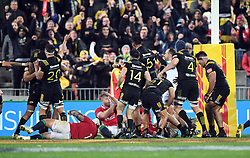 """The Hurricanes celebrate theirv try to draw 31-31 with the Lions in the International rugby match between the the Super Rugby Hurricanes and British and Irish Lions at Westpac Stadium, Wellington, New Zealand, Tuesday, June 27, 2017. Credit:SNPA / Ross Setford  **NO ARCHIVING"""""""