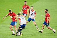 Gerard Pique, David Villa, Sergio Ramos, Iago Aspas and Nacho Fernandez during Spain training session at Santiago Bernabeu Stadium in Madrid, Spain September 01, 2017. (ALTERPHOTOS/Borja B.Hojas)