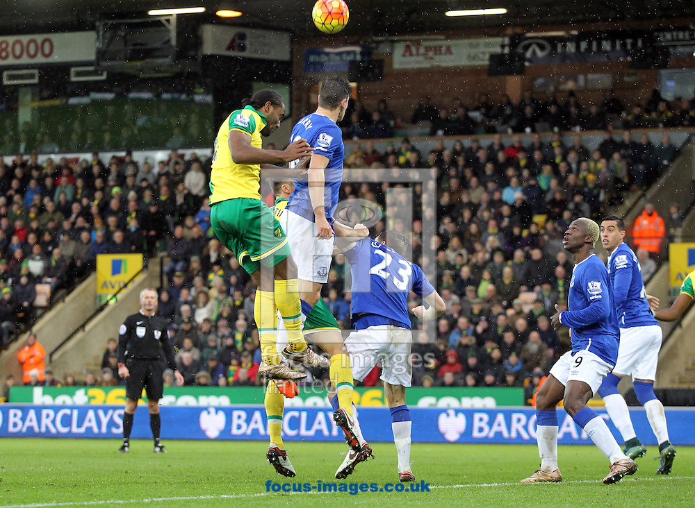 Cameron Jerome of Norwich wins a header during the Barclays Premier League match at Carrow Road, Norwich<br /> Picture by Paul Chesterton/Focus Images Ltd +44 7904 640267<br /> 12/12/2015