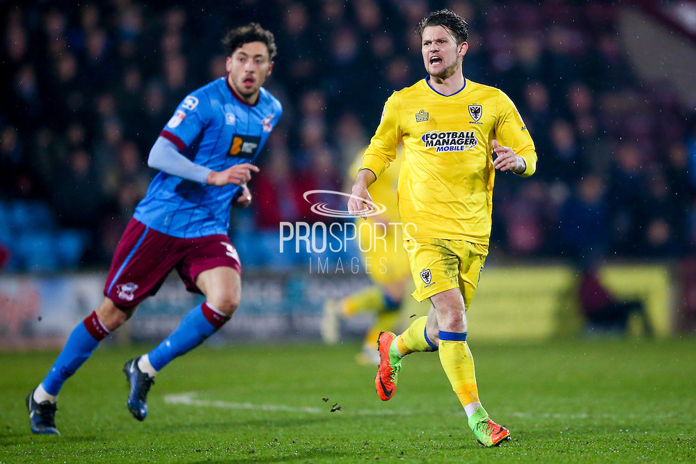 AFC Wimbledon midfielder Jake Reeves (8)  during the EFL Sky Bet League 1 match between Scunthorpe United and AFC Wimbledon at Glanford Park, Scunthorpe, England on 28 February 2017. Photo by Simon Davies.