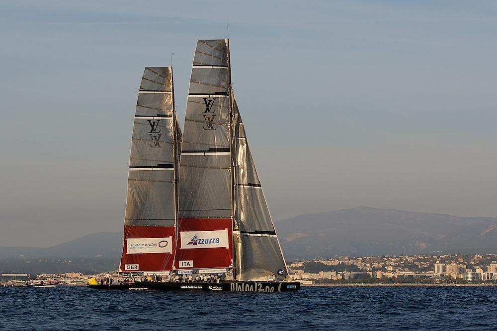 FRANCE, Nice, 21st November 2009, Louis Vuitton Trophy, Day 14, Semi Final Day 3, TEAMORIGIN vs Azzurra, Race 3, Prestart.