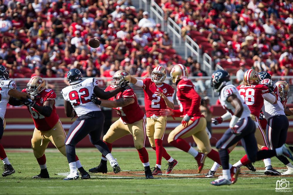 San Francisco 49ers quarterback Blaine Gabbert (2) throws the ball Houston Texans at Levi's Stadium in Santa Clara, Calif., on August 14, 2016. (Stan Olszewski/Special to S.F. Examiner)