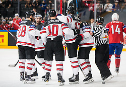Players of Canada celebrate after scoring first goal during the 2017 IIHF Men's World Championship group B Ice hockey match between National Teams of Canada and Norway, on May 15, 2017 in AccorHotels Arena in Paris, France. Photo by Vid Ponikvar / Sportida