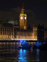 © Licensed to London News Pictures.22/03/2017.London, UK. Police boats are seen on the River Thames as Parliament is still in lockdown at 7.30PM after a terrorist attack on the Houses of Parliament in Westminster, London.Photo credit: Peter Macdiarmid/LNP