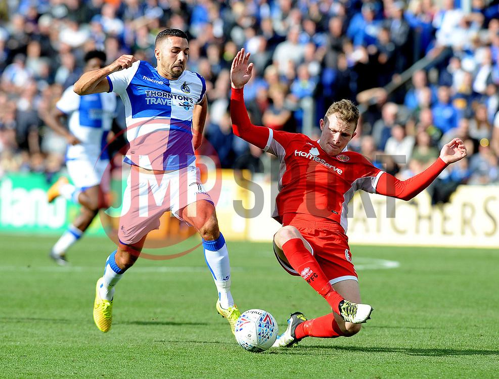Liam Sercombe of Bristol Rovers is challenged by Nicky Devlin of Walsall - Mandatory by-line: Neil Brookman/JMP - 09/09/2017 - FOOTBALL - Memorial Stadium - Bristol, England - Bristol Rovers v Walsall - Sky Bet League One