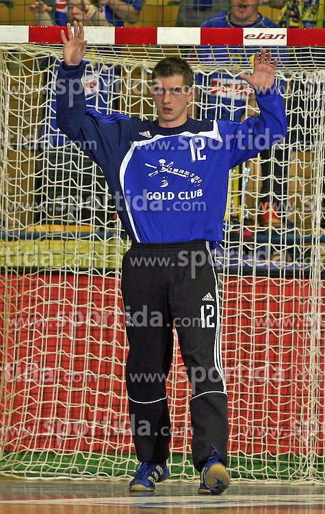 Goalkeeper Blaz Voncina at handball match RK Cimos Koper vs RK Gold Club in final of Slovenian Handball Cup, on March 30, 2008 in Celje, Slovenia. Cimos Koper won the game 30:25 and became the Winner of Slovenian Cup. (Photo by Vid Ponikvar / Sportal Images).