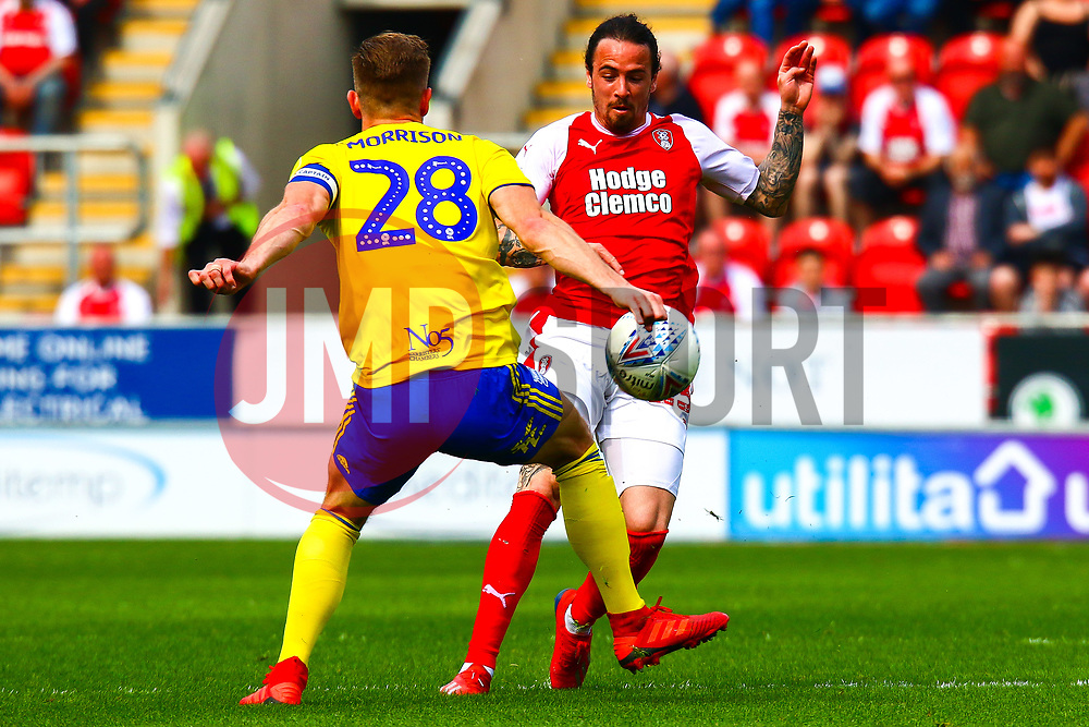 Michael Morrison of Birmingham City blocks an attack by Ryan Williams of Rotherham United - Mandatory by-line: Ryan Crockett/JMP - 22/04/2019 - FOOTBALL - Aesseal New York Stadium - Rotherham, England - Rotherham United v Birmingham City - Sky Bet Championship
