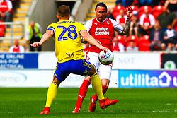 Michael Morrison of Birmingham City blocks an attack by Ryan Williams of Rotherham United - Mandatory by-line: Ryan Crockett/JMP - 22/04/2019 - FOOTBALL - Aesseal New York Stadium - Rotherham, England - Rotherham United v Birmingham City - Sky Bet Championship