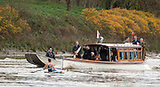 Putney-Chiswick.  Greater    London, UK. Geogina FRANCIS followed by the Umpires launch' Verity'  with Umpire, Sir Steven REDGRAVE as they pass Watney Brewery in the closing stage of the Women's  2015 Wingfield Sculls Race, over the Championship Course, River Thames  Thursday  12/11/2015 <br /> <br /> [Mandatory Credit: Peter SPURRIER: Intersport Images]