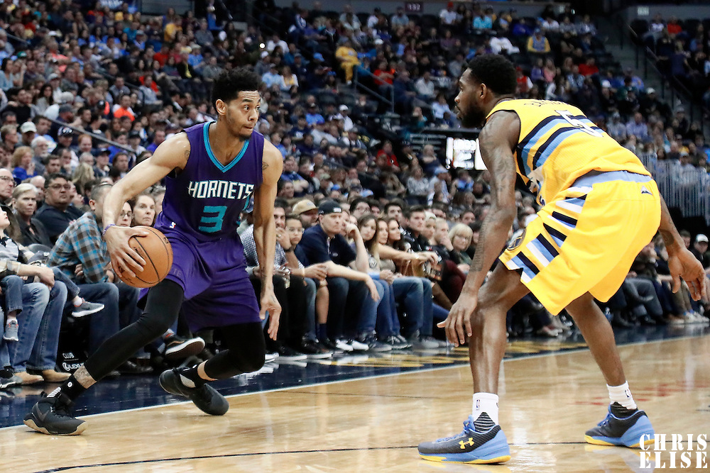 04 March 2017: Denver Nuggets guard Will Barton (5) defends on Charlotte Hornets guard Jeremy Lamb (3) during the Charlotte Hornets 112-102 victory over the Denver Nuggets, at the Pepsi Center, Denver, Colorado, USA.