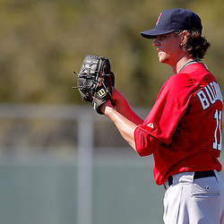 February 23, 2011; Fort Myers, FL, USA; Boston Red Sox starting pitcher Clay Buchholz (11) during spring training at the Player Development Complex.  Mandatory Credit: Derick E. Hingle