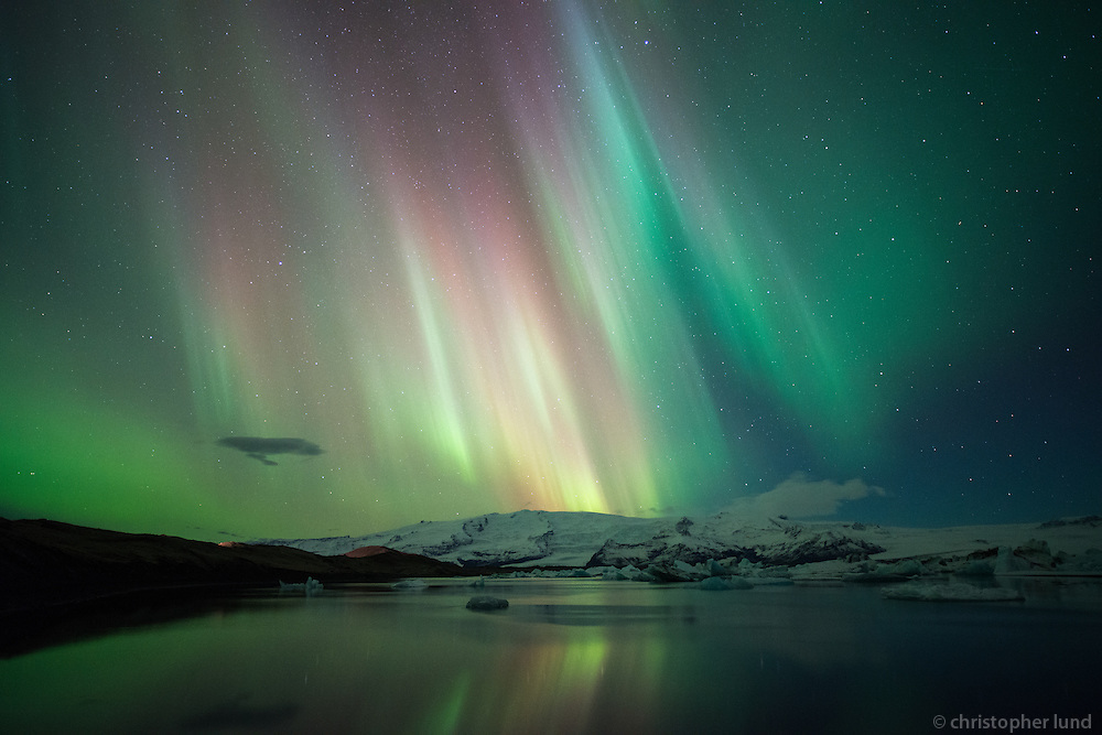 Northern Lights over Jökulsárlón Glacial Lagoon, Southeast Iceland.