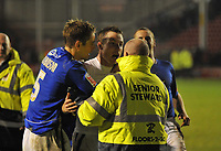 Photo: Tony Oudot/Richard Lane Photography. Walsall v Milwall. Coca-Cola Football League One. 13/12/2008. <br /> Neil Harris of Millwall clashes with a steward after he tried to stop him throwing his shirt into the crowd