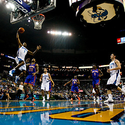December 3, 2010; New Orleans, LA, USA; New Orleans Hornets small forward Trevor Ariza (1) shoots over New York Knicks small forward Wilson Chandler (21) during the first half at the New Orleans Arena. Mandatory Credit: Derick E. Hingle