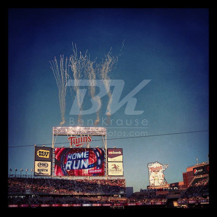 An Instagram of home run fireworks at Target Field in Minneapolis, Minnesota.