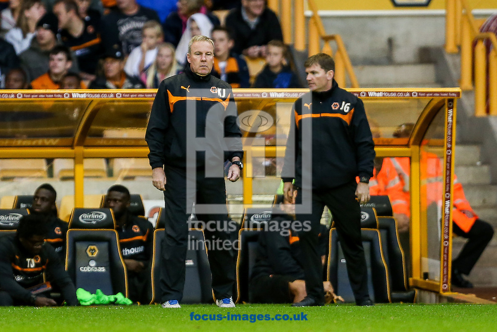 Wolves manager, Kenny Jackett, (left) during the Capital One Cup match at Molineux, Wolverhampton<br /> Picture by Andy Kearns/Focus Images Ltd 0781 864 4264<br /> 12/08/2014