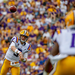 Sep 8, 2018; Baton Rouge, LA, USA; LSU Tigers quarterback Joe Burrow (9) throws to wide receiver Ja'Marr Chase (1) during the first quarter of a game against the Southeastern Louisiana Lions at Tiger Stadium. Mandatory Credit: Derick E. Hingle-USA TODAY Sports