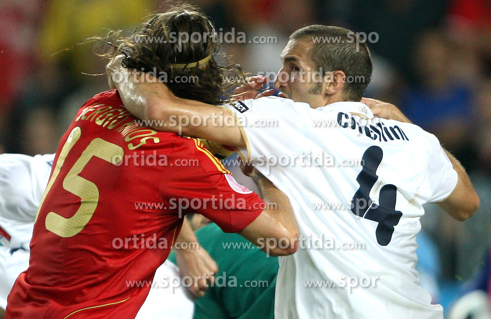 Sergio Ramos of Spain (15) and Giorgio Chiellini of Italy (4) during the UEFA EURO 2008 Quarter-Final soccer match between Spain and Italy at Ernst-Happel Stadium, on June 22,2008, in Wien, Austria. Spain won after penalty shots 4:2. (Photo by Vid Ponikvar / Sportal Images)