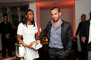BEVERLEY KNIGHT; JAMES O'KEEFE, The Tomodachi ( Friends) Charity Dinner hosted by Chef Nobu Matsuhisa in aid of the Japanese Tsunami Appeal. Nobu Park Lane. London. 4 May 2011. <br /> <br />  , -DO NOT ARCHIVE-© Copyright Photograph by Dafydd Jones. 248 Clapham Rd. London SW9 0PZ. Tel 0207 820 0771. www.dafjones.com.