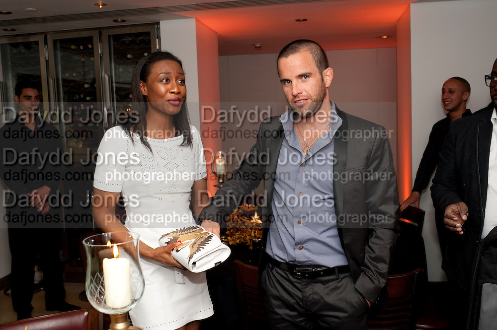 BEVERLEY KNIGHT; JAMES O'KEEFE, The Tomodachi ( Friends) Charity Dinner hosted by Chef Nobu Matsuhisa in aid of the Japanese Tsunami Appeal. Nobu Park Lane. London. 4 May 2011. <br /> <br />  , -DO NOT ARCHIVE-&copy; Copyright Photograph by Dafydd Jones. 248 Clapham Rd. London SW9 0PZ. Tel 0207 820 0771. www.dafjones.com.