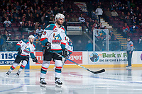 KELOWNA, CANADA - APRIL 30: Dillon Dube #19 of the Kelowna Rockets skates on the ice at the start of the game against the Seattle Thunderbirds on April 30, 2017 at Prospera Place in Kelowna, British Columbia, Canada.  (Photo by Marissa Baecker/Shoot the Breeze)  *** Local Caption ***