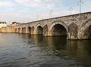 Evening light historic  bridge, River Maas or Meuse, Maastricht, Limburg province, Netherlands,