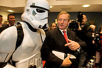 An Taoiseach Enda Kenny at BioWare in Galway with a storm trooper announcing jobs in the Gaming technology industry. Photo:Andrew Downes