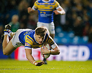 Ash Handley of Leeds Rhinos  dives over to scores his 2nd  try of the game against Castleford Tigers during the Betfred Super League match at Elland Road, Leeds<br /> Picture by Stephen Gaunt/Focus Images Ltd +447904 833202<br /> 23/03/2018