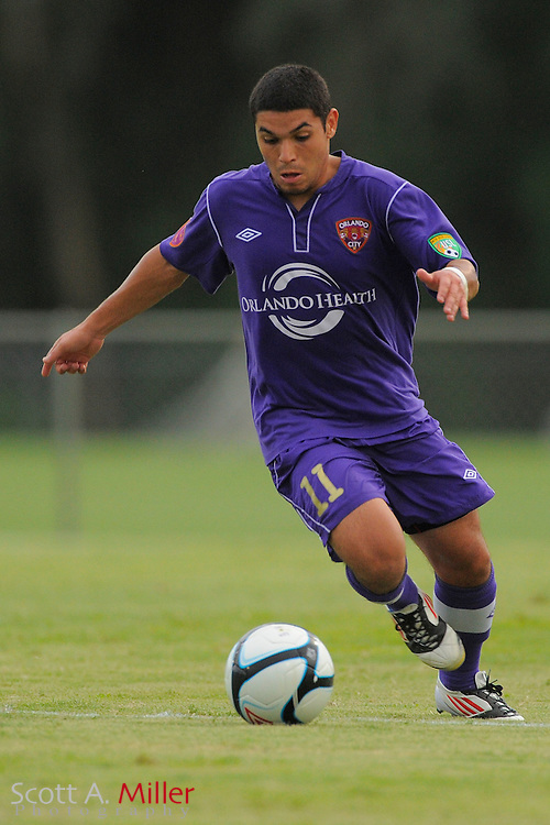 Orlando City midfielder Jonathan Mendoza (11) during Orlando City's 3-1 loss to IMG Academies at the Seminole Soccer Complex on July 10, 2012 in Sanford, Florida. ..©2012 Scott A. Miller