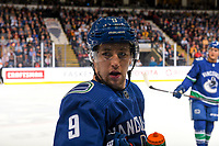 KELOWNA, BC - SEPTEMBER 29: Brendan Leipsic #9 of the Vancouver Canucks stands at the bench against the Arizona Coyotes  at Prospera Place on September 29, 2018 in Kelowna, Canada. (Photo by Marissa Baecker/NHLI via Getty Images)  *** Local Caption *** Brendan Leipsic