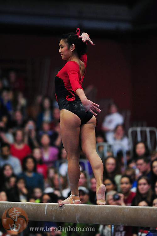 January 23, 2011; Stanford, CA, USA; Stanford Cardinal gymnast Allyse Ishino performs on the beam during the meet against the UCLA Bruins at Burnham Pavilion. The Cardinal defeated the Bruins 196.200-194.825. Mandatory Credit: Kyle Terada-Terada Photo