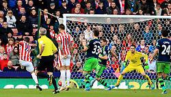 Bojan Krkic of Stoke City scores his sides second goal  - Mandatory by-line: Matt McNulty/JMP - 02/04/2016 - FOOTBALL - Britannia Stadium - Stoke-on-Trent, England - Stoke City v Swansea City - Barclays Premier League