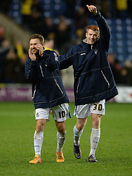 Matt Taylor of Bristol Rovers celebrates at full time with Rory Gaffney of Bristol Rovers - Mandatory byline: Alex James/JMP - 17/01/2016 - FOOTBALL - The Kassam Stadium - Oxford, England - Oxford United v Bristol Rovers - Sky Bet League Two