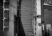 Abstract view of the feed elevator and storage bins at an abandoned milling building in Midland, NC