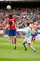 Atletico de Madrid's Filipe Luis and Celta de Vigo's Orellana during La Liga Match at Vicente Calderon Stadium in Madrid. May 14, 2016. (ALTERPHOTOS/BorjaB.Hojas)
